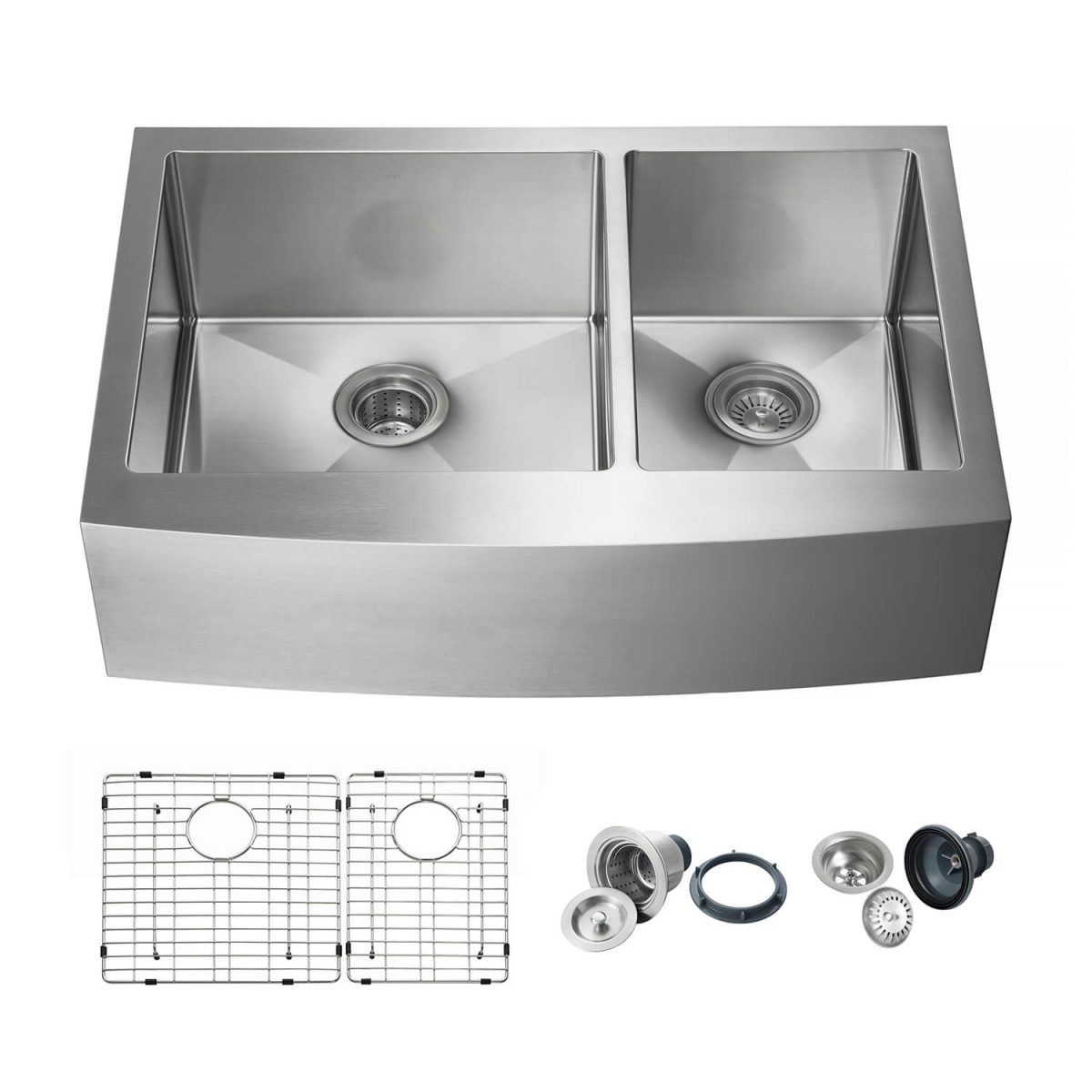 """33"""" Handcrafted Farmhouse Apron Double Bowl Stainless Steel Kitchen Sink - K1-DF33"""