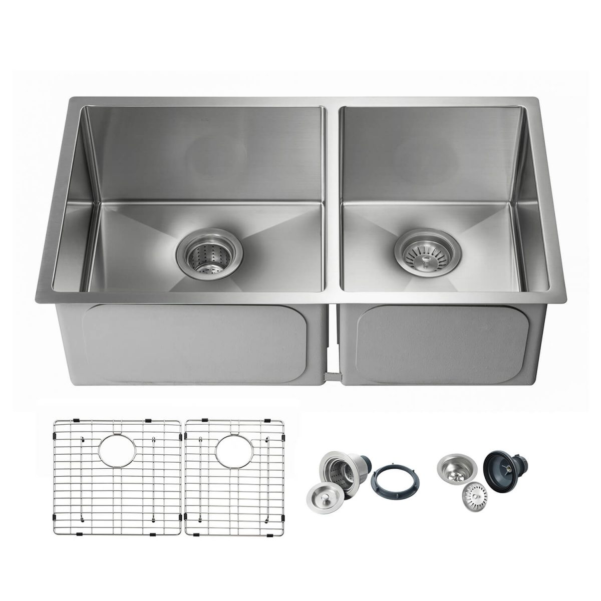"""32 3/4"""" Handcrafted Undermount Double Bowl Stainless Steel Kitchen Sink - K1-D33-BS"""