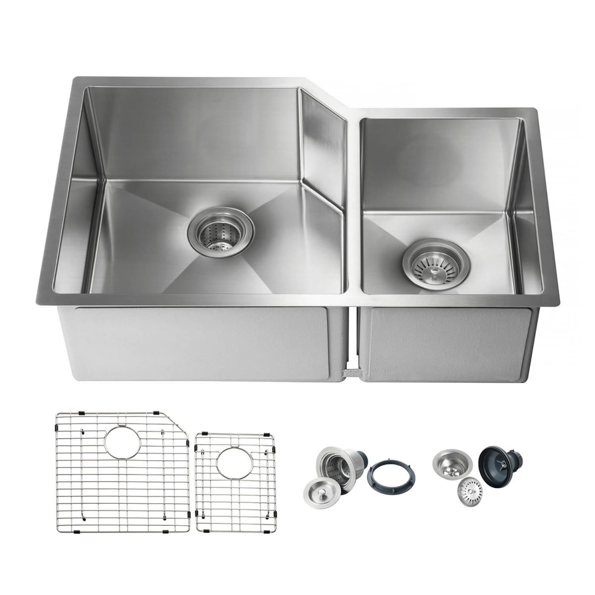"""32"""" Handcrafted Undermount Double Bowl Stainless Steel Kitchen Sink - K1-D32"""