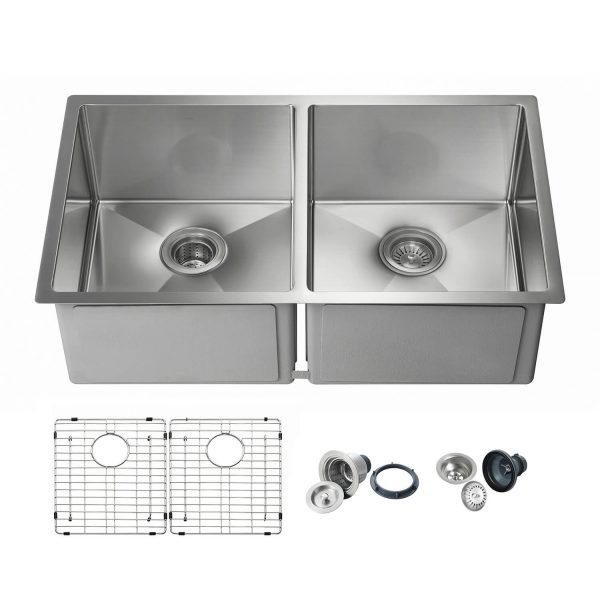 "32 3/4"" Handcrafted Undermount Double Bowl Stainless Steel Kitchen Sink - K1-D33-EQ"
