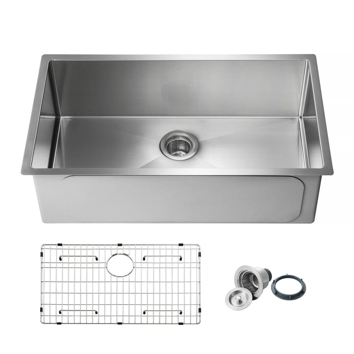 "32 3/4"" Handcrafted Undermount Single Bowl 16 gauge Stainless Steel Kitchen Sink - K1-S33"