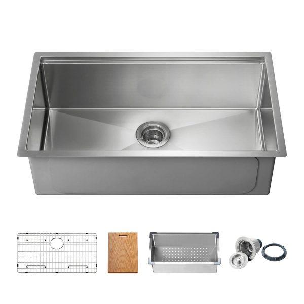 "33"" Undermount Single Bowl Stainless Steel Workstation Sink - K1-S33T"
