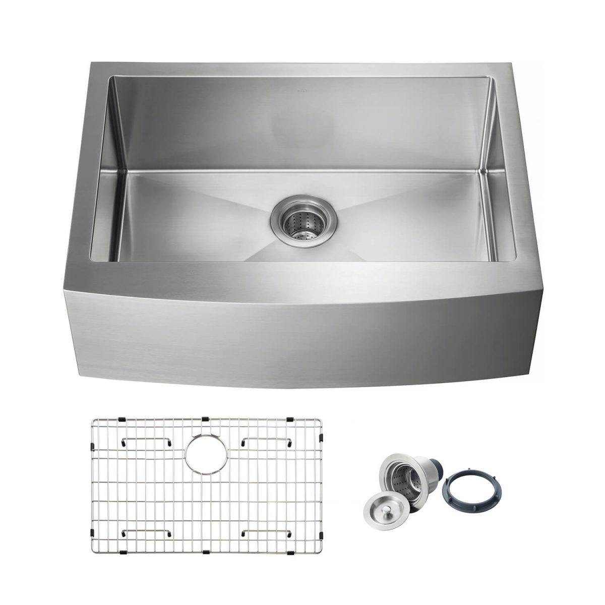 """30"""" Handcrafted Farmhouse Apron Single Bowl Stainless Steel Kitchen Sink - K1-SF30"""