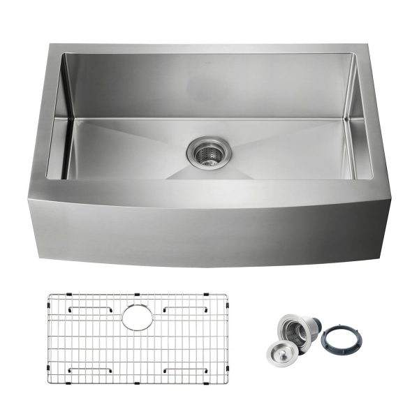 """33"""" Handcrafted Farmhouse Apron Single Bowl Stainless Steel Kitchen Sink - K1-SF33"""