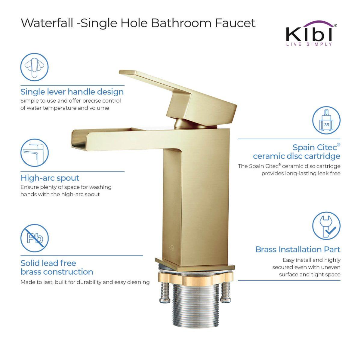 Image of: Kibi Waterfall Brass Single Handle Bathroom Vanity Sink Faucet Kibi
