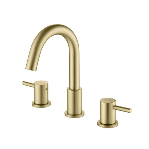 "Kibi Circular 8"" Widespread Bathroom Sink Faucet with Pop-up - KBF1016 - Brushed Gold"