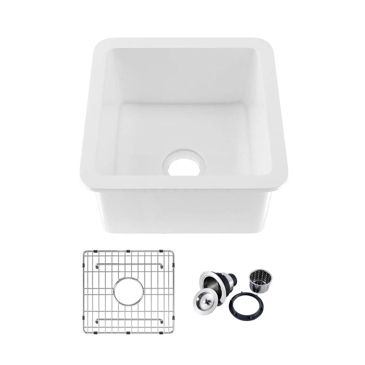 "18"" Fireclay Undermounted Kitchen Sink Cubic Series - K2-S18SQ"